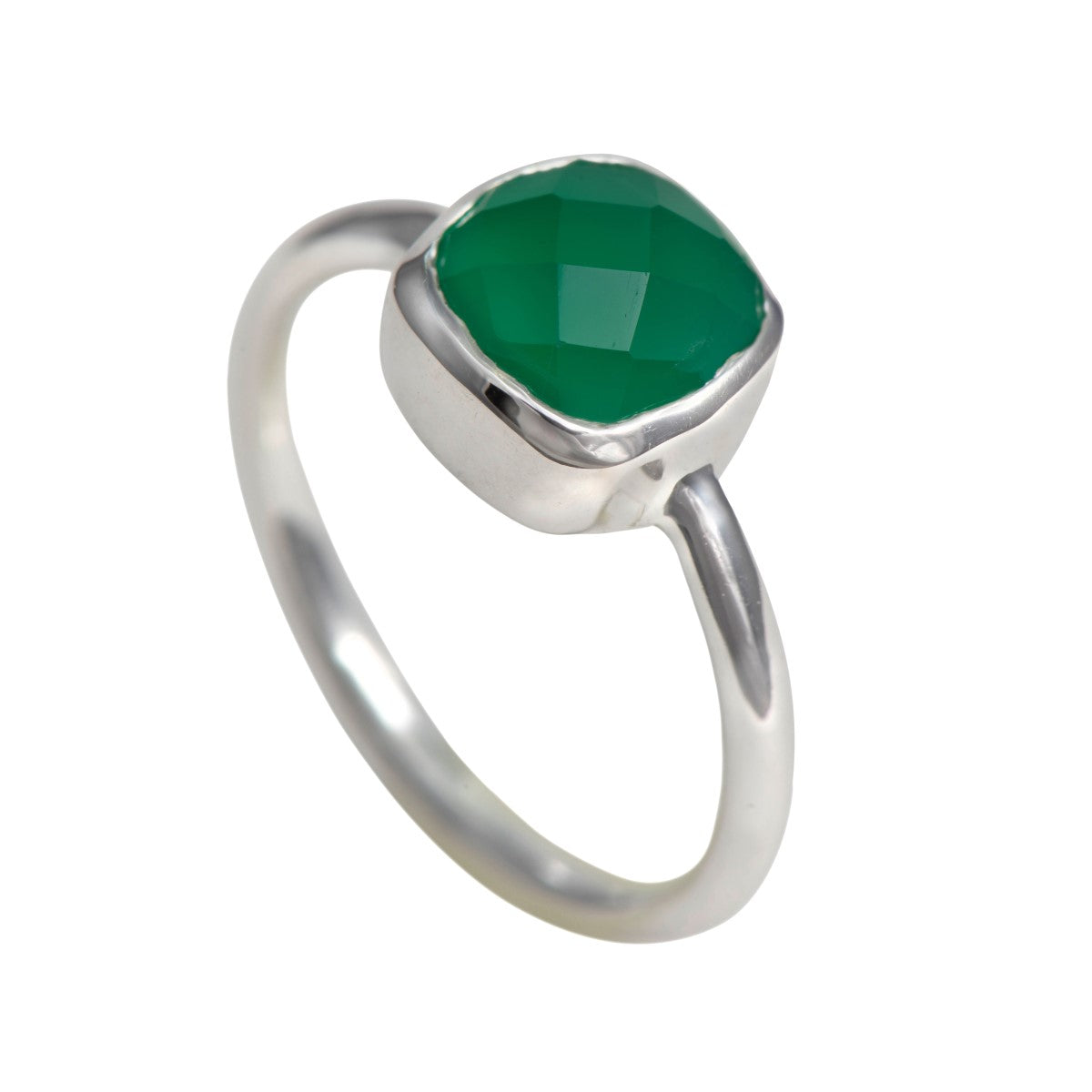 Faceted Square Cut Natural Gemstone Sterling Silver Solitaire Ring - Green Onyx