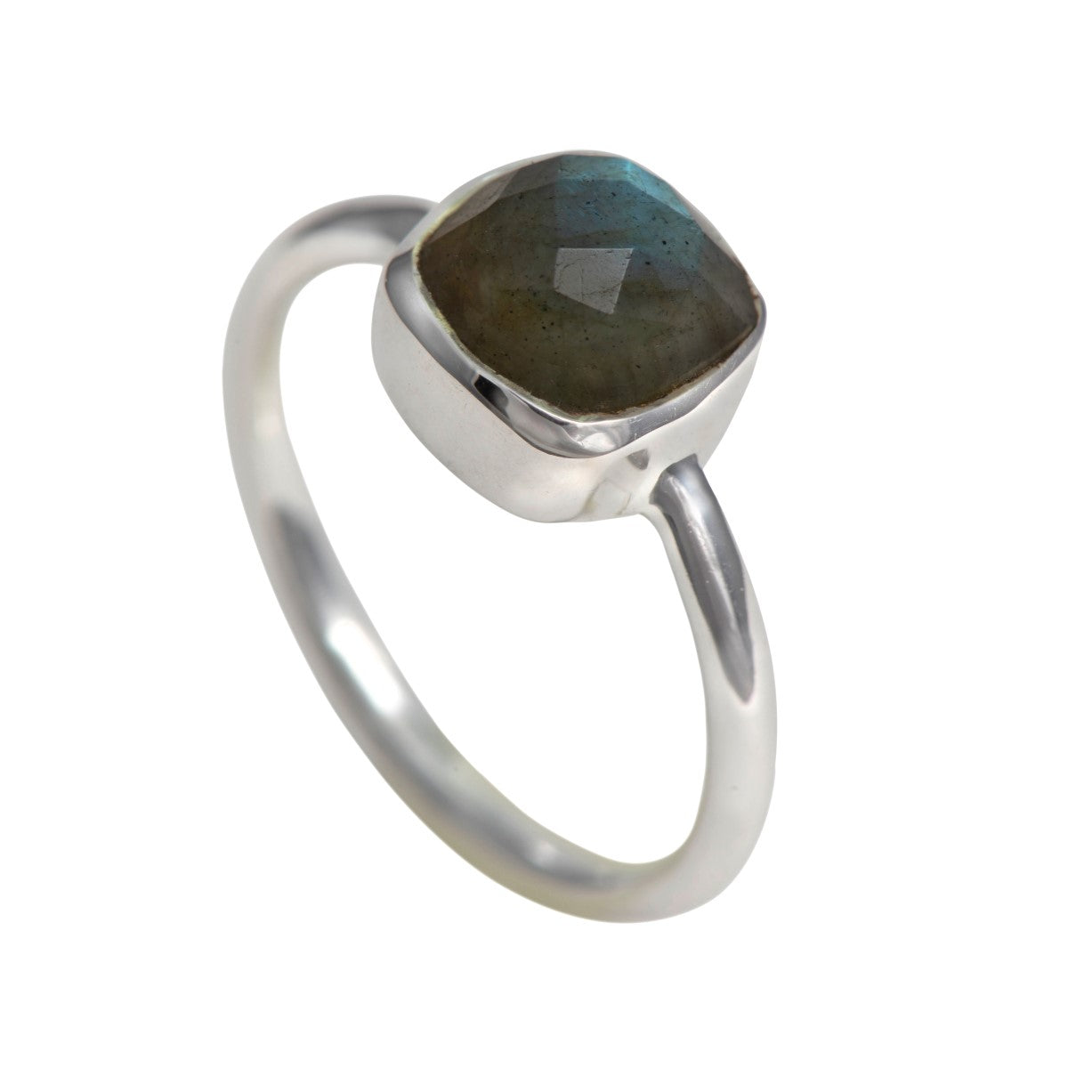 Faceted Square Cut Natural Gemstone Sterling Silver Solitaire Ring - Labradorite