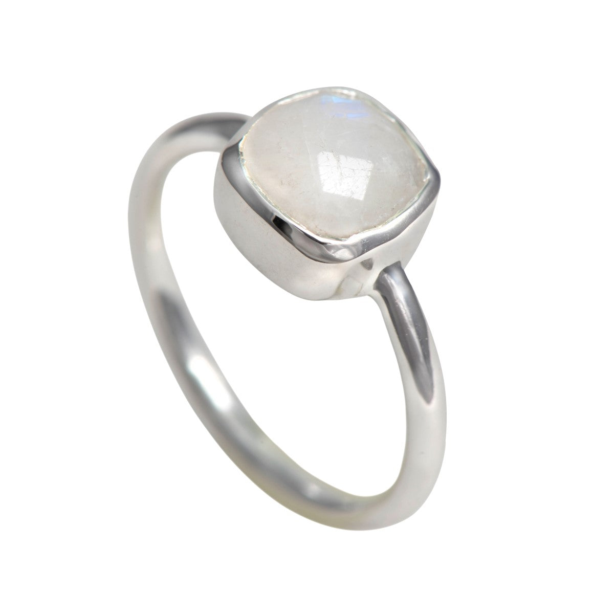 Faceted Square Cut Natural Gemstone Sterling Silver Solitaire Ring - Moonstone