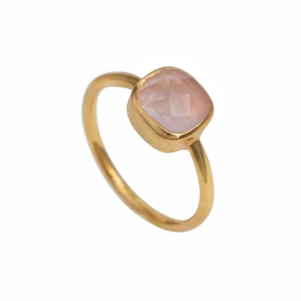 Faceted Square Cut Natural Gemstone Gold Plated Sterling Silver Solitaire Ring - Rose Quartz
