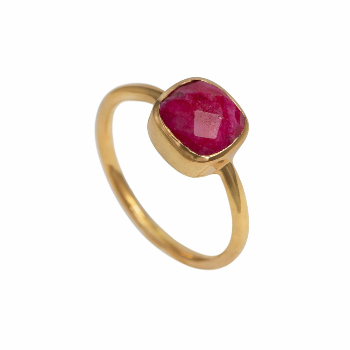 Faceted Square Cut Natural Gemstone Gold Plated Sterling Silver Solitaire Ring - Ruby Quartz