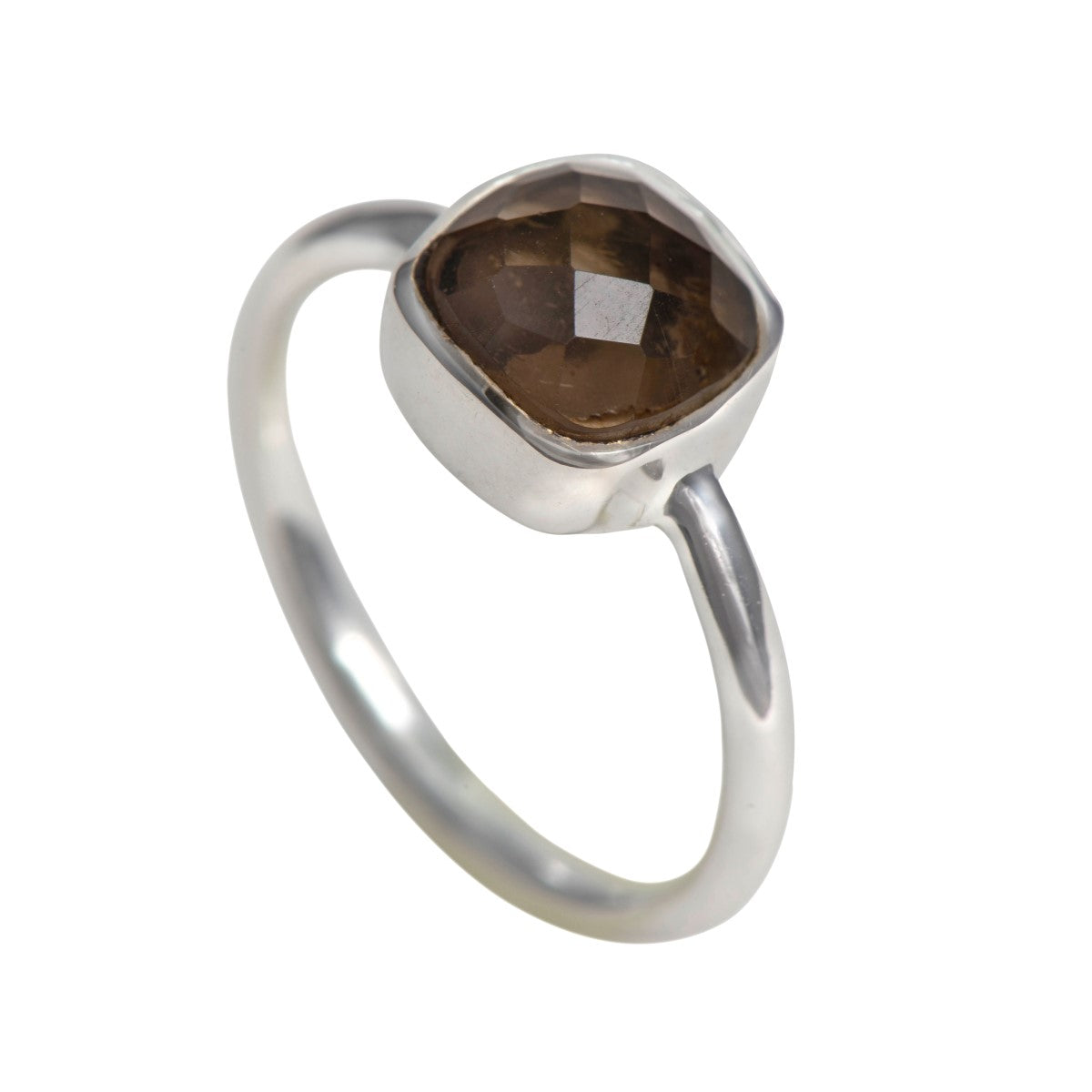 Faceted Square Cut Natural Gemstone Sterling Silver Solitaire Ring - Smoky Quartz