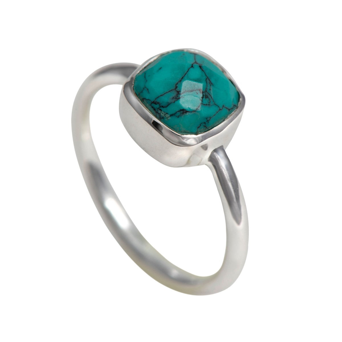 Faceted Square Cut Natural Gemstone Sterling Silver Solitaire Ring - Turquoise