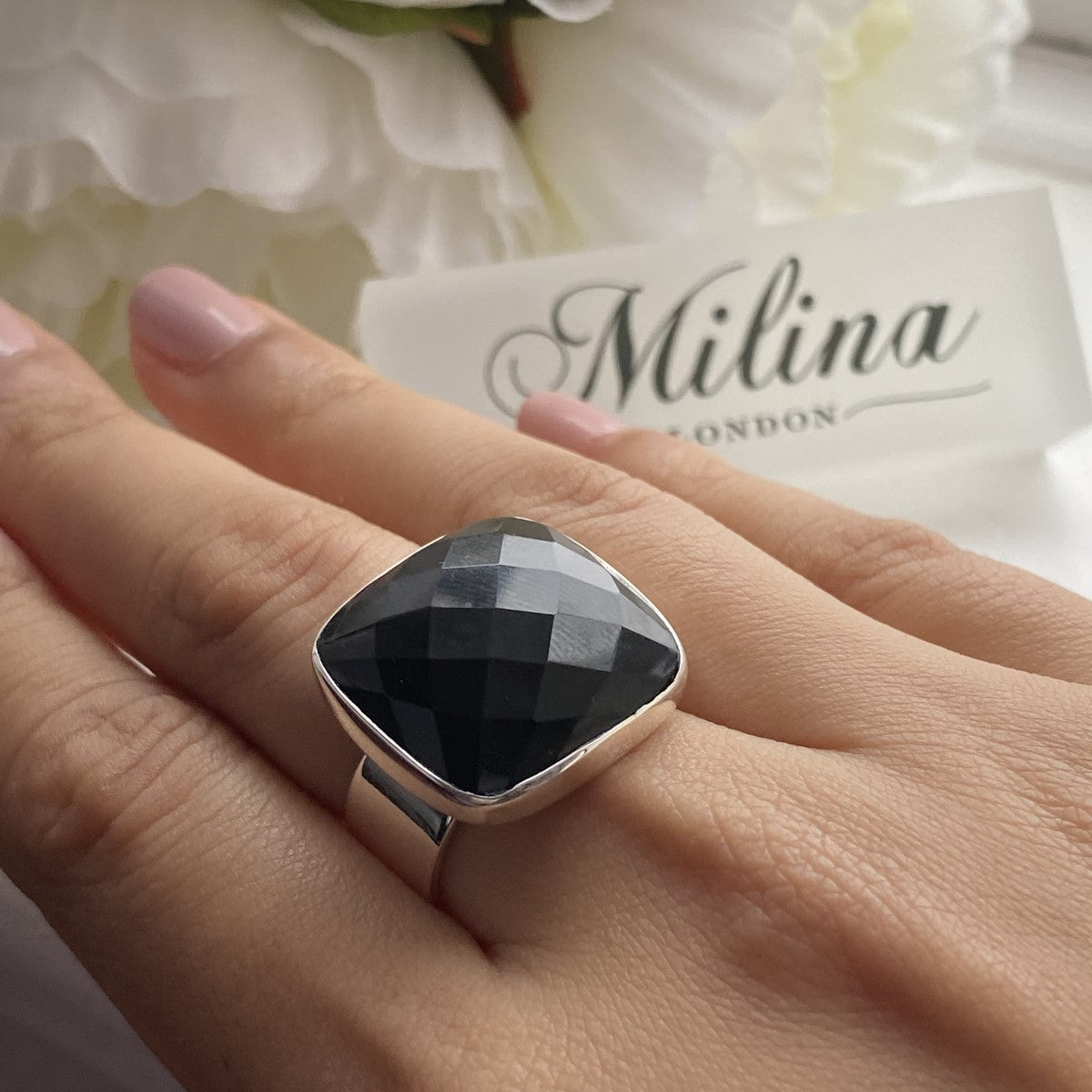 Chunky Sterling Silver Square Black Onyx Gemstone Ring