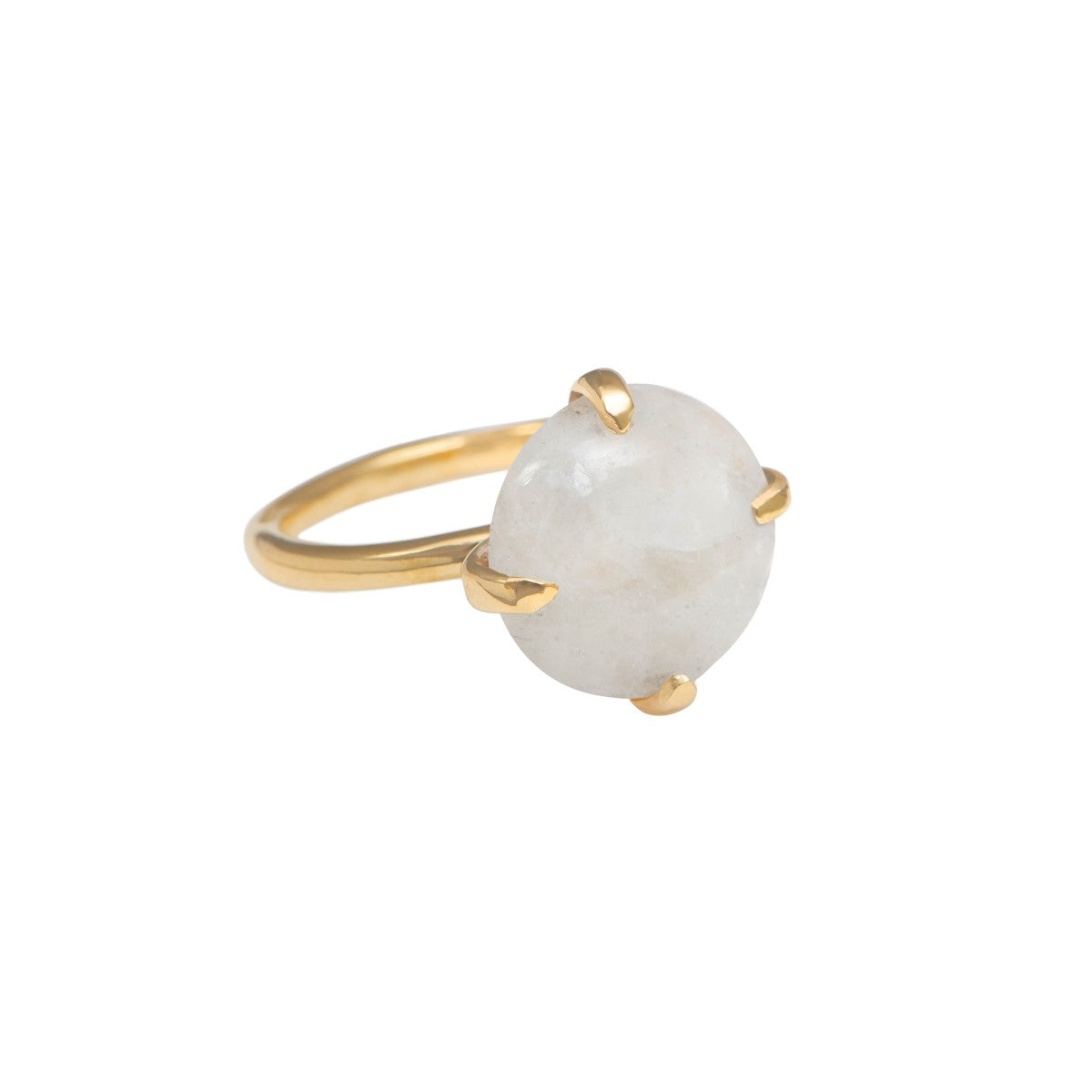 Round Cabochon Moonstone Ring in Gold Plated Sterling Silver