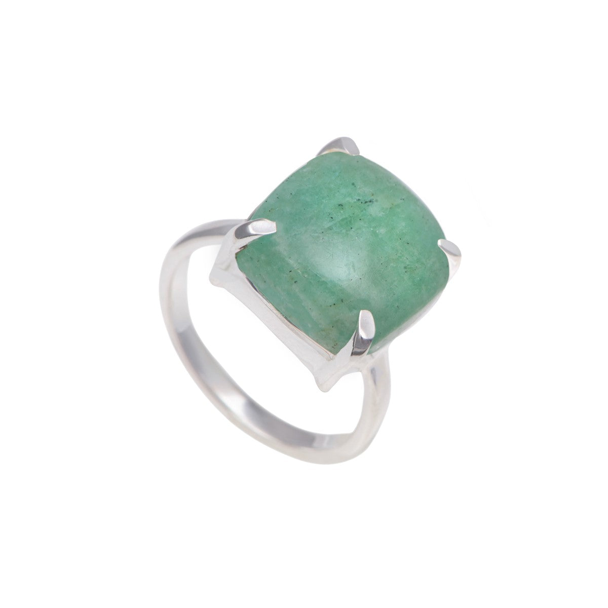 Square Cabochon Amazonite Ring in Sterling Silver
