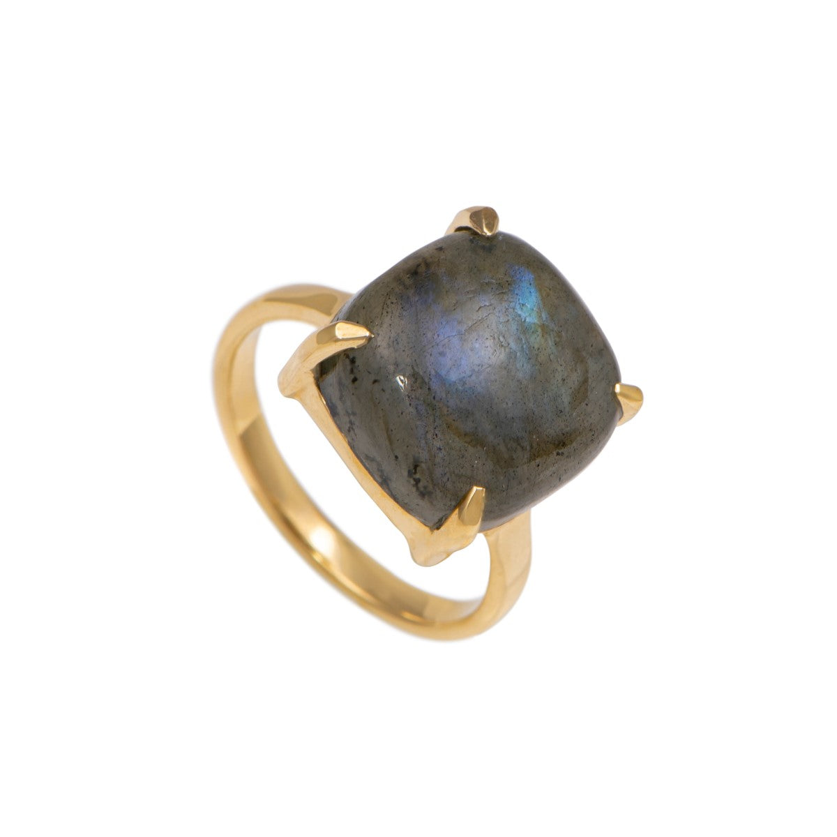 Square Cabochon Labradorite Ring in Gold Plated Sterling Silver