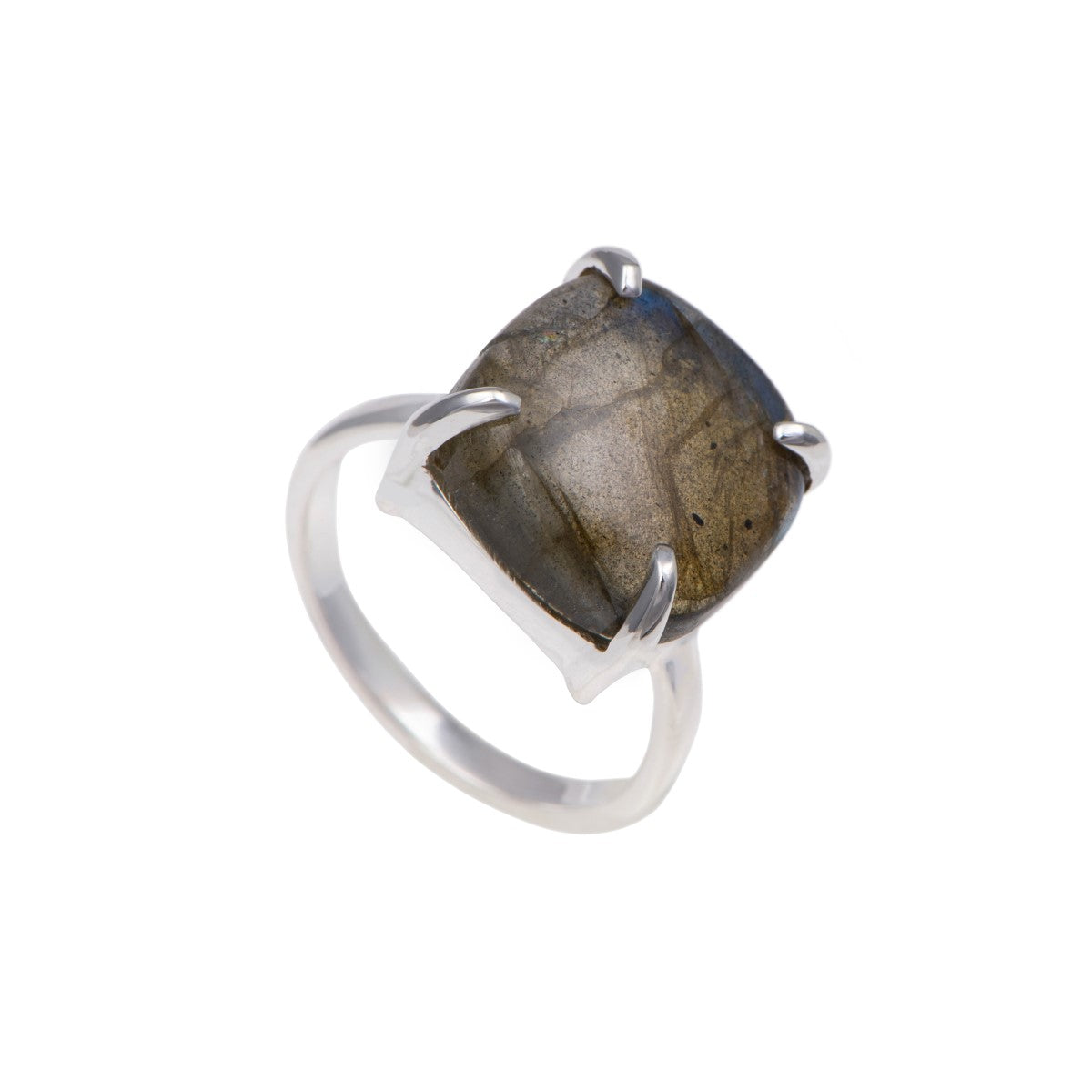 Square Cabochon Labradorite Ring in Sterling Silver