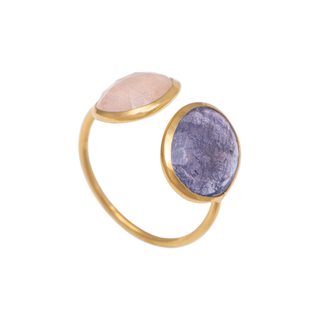 Gold Plated Sterling Silver Two Gemstone Ring with Morganite and Tanzanite