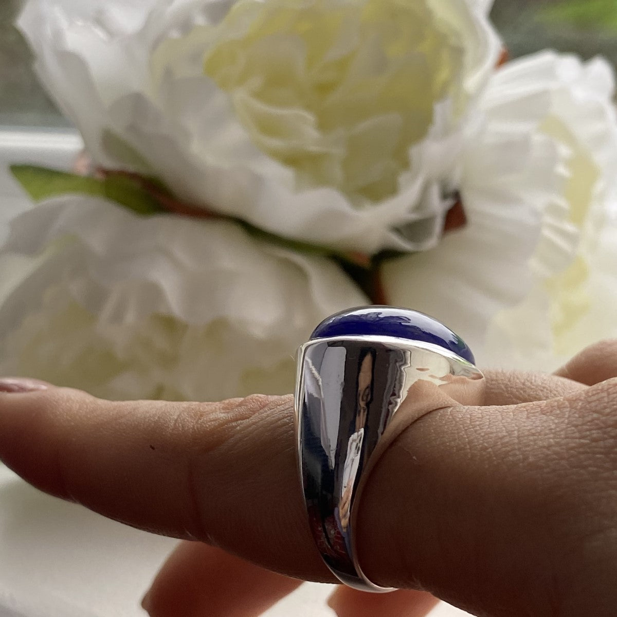 Statement Sterling Silver Blue Chalcedony Gemstone Ring