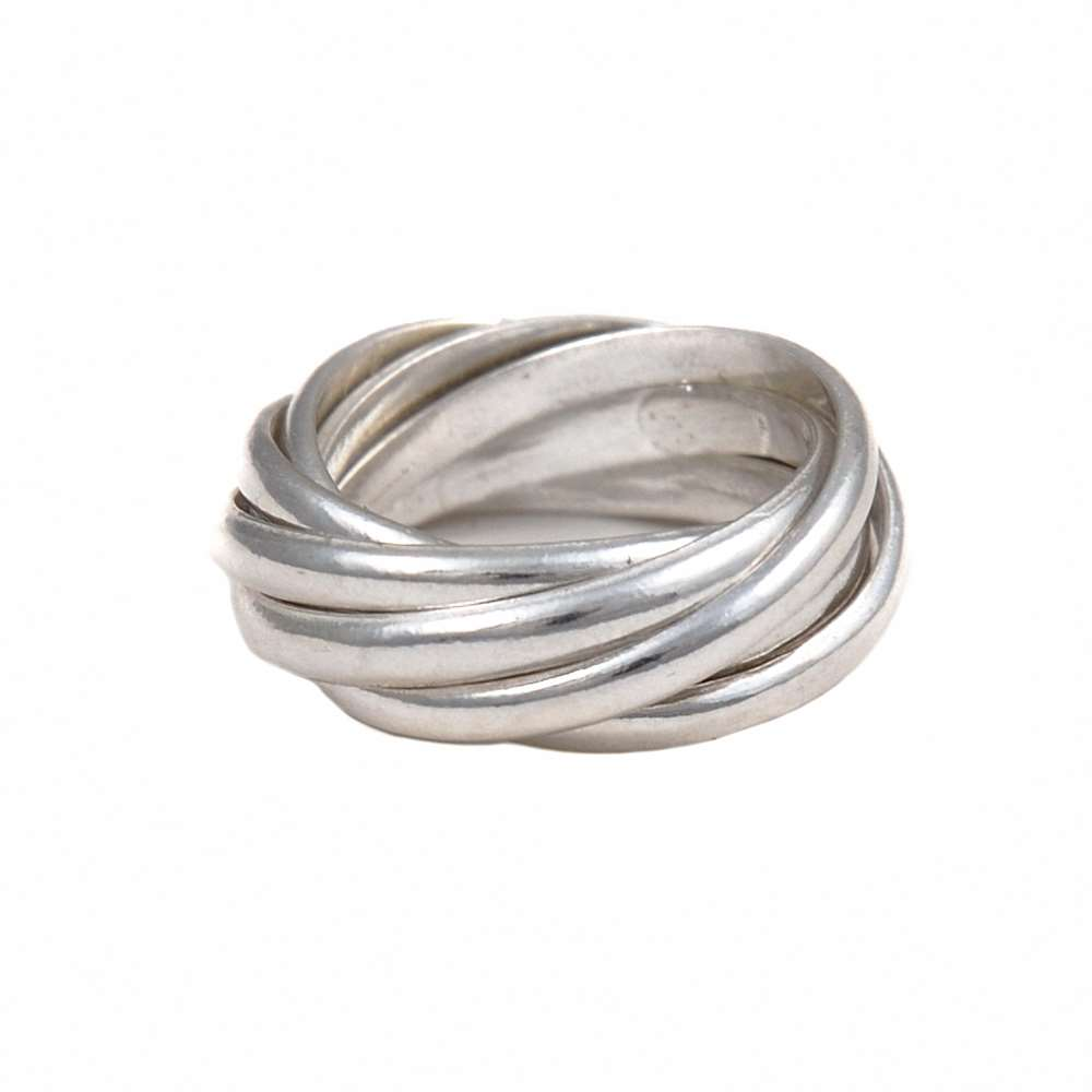 Intertwined Silver Ring - 7 Bands