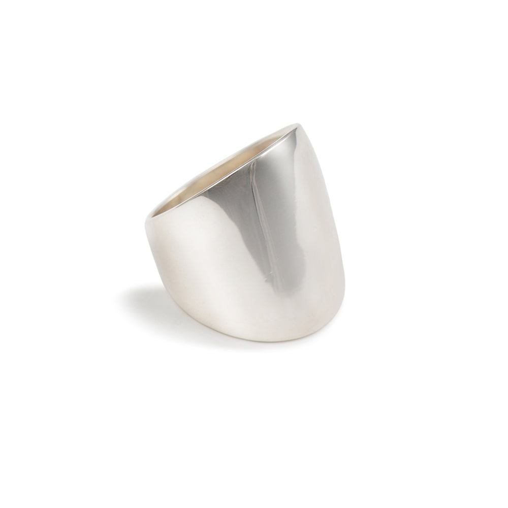 Long Chunky Rounded Sterling Silver Ring