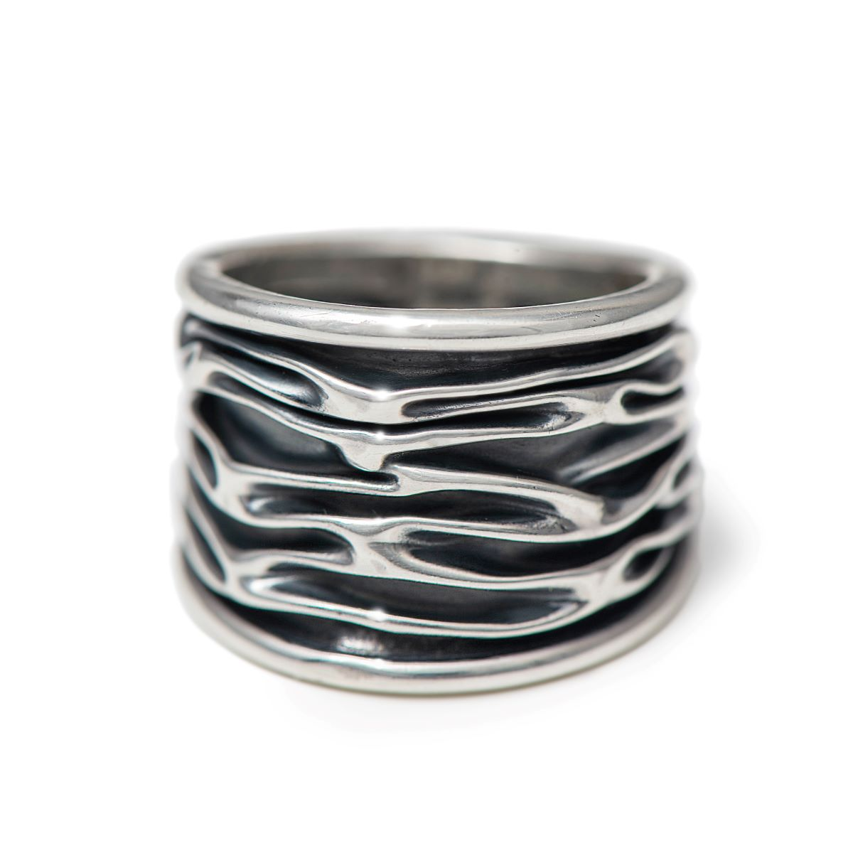 Wavy Oxidised Sterling Silver Ring