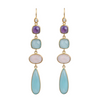 Gold Plated Sterling Silver Long Gemstone Earrings with Amethyst, Aqua Chalcedony and Rose Quartz