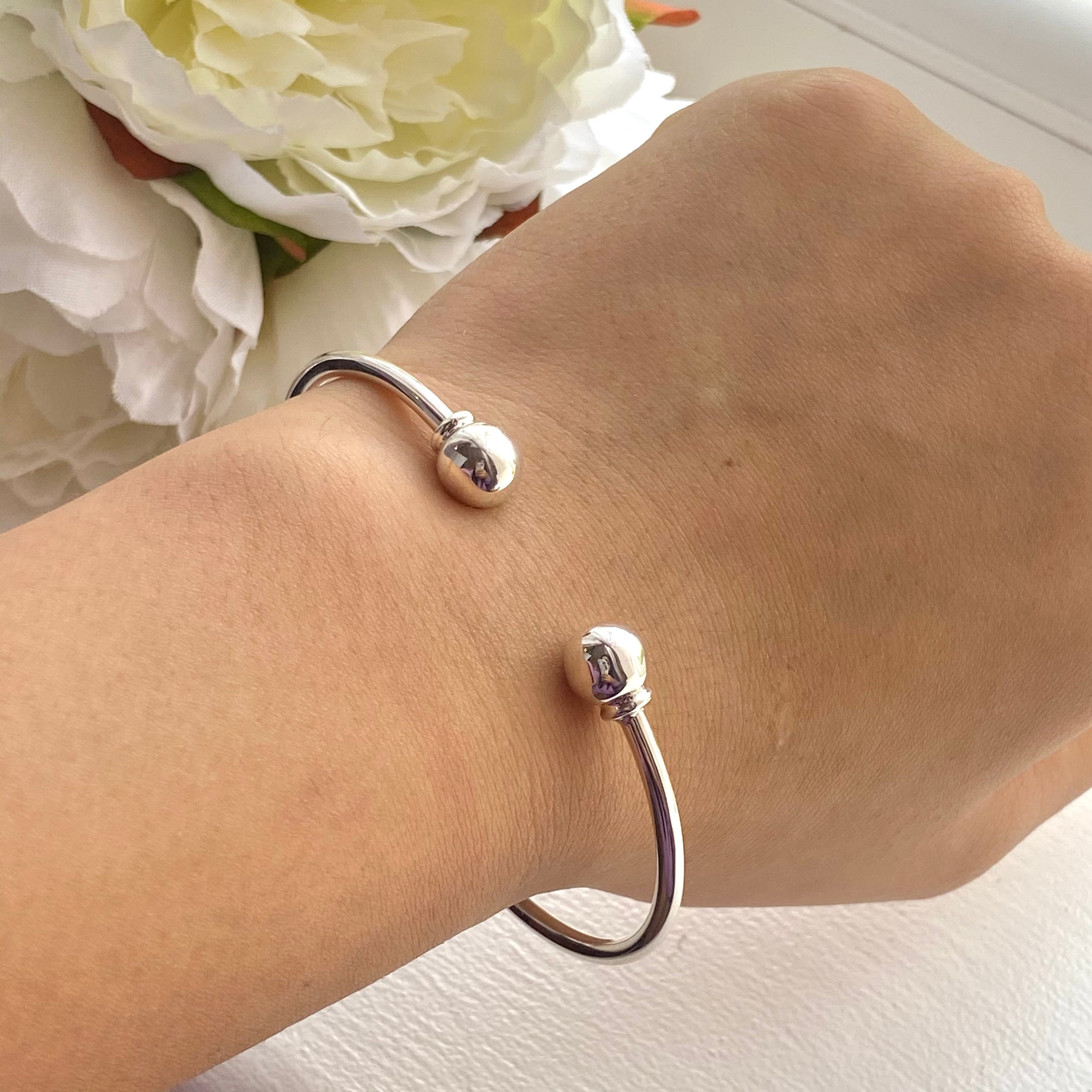 Sterling Silver Cuff with Spheres