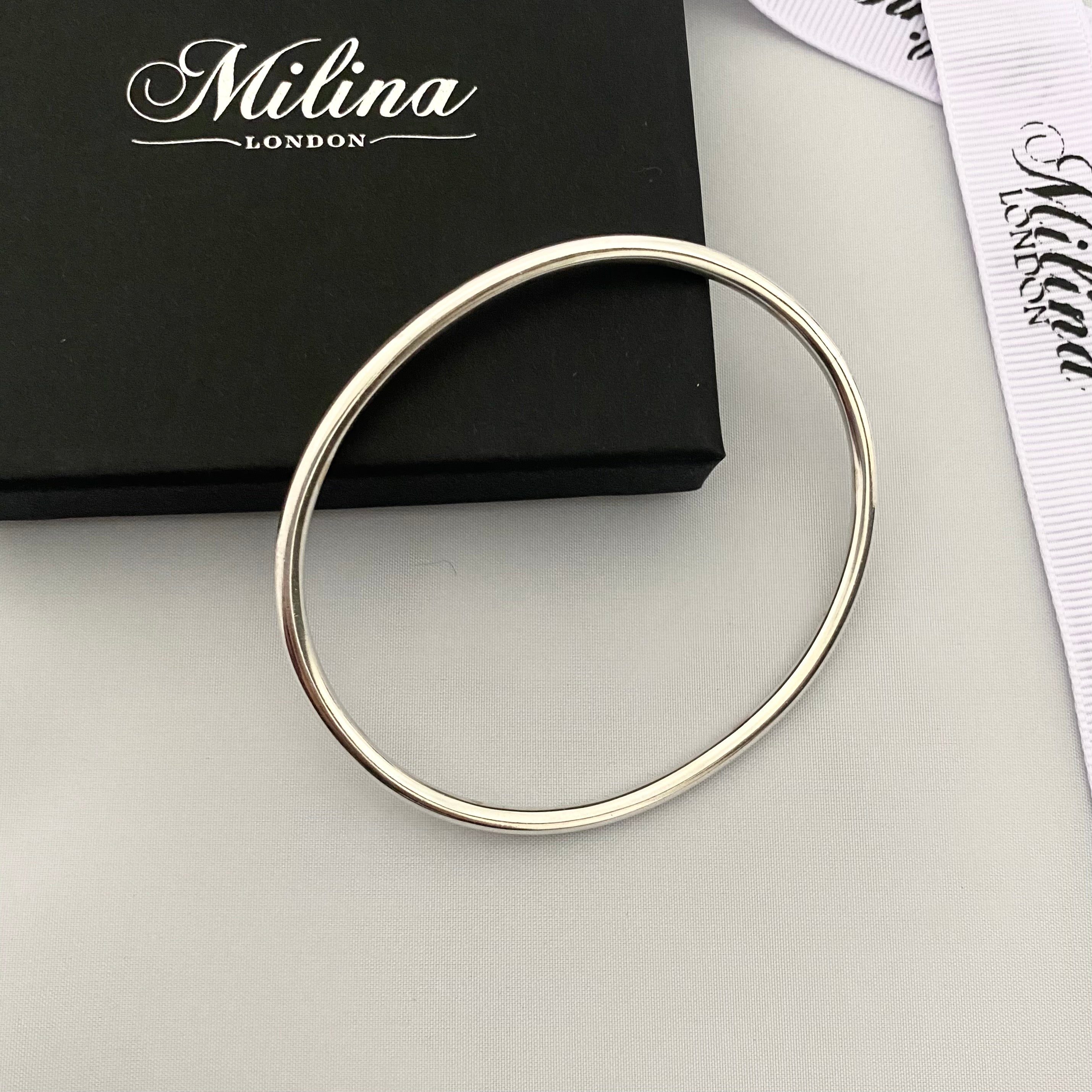 Contemporary Oval Bangle in Sterling Silver