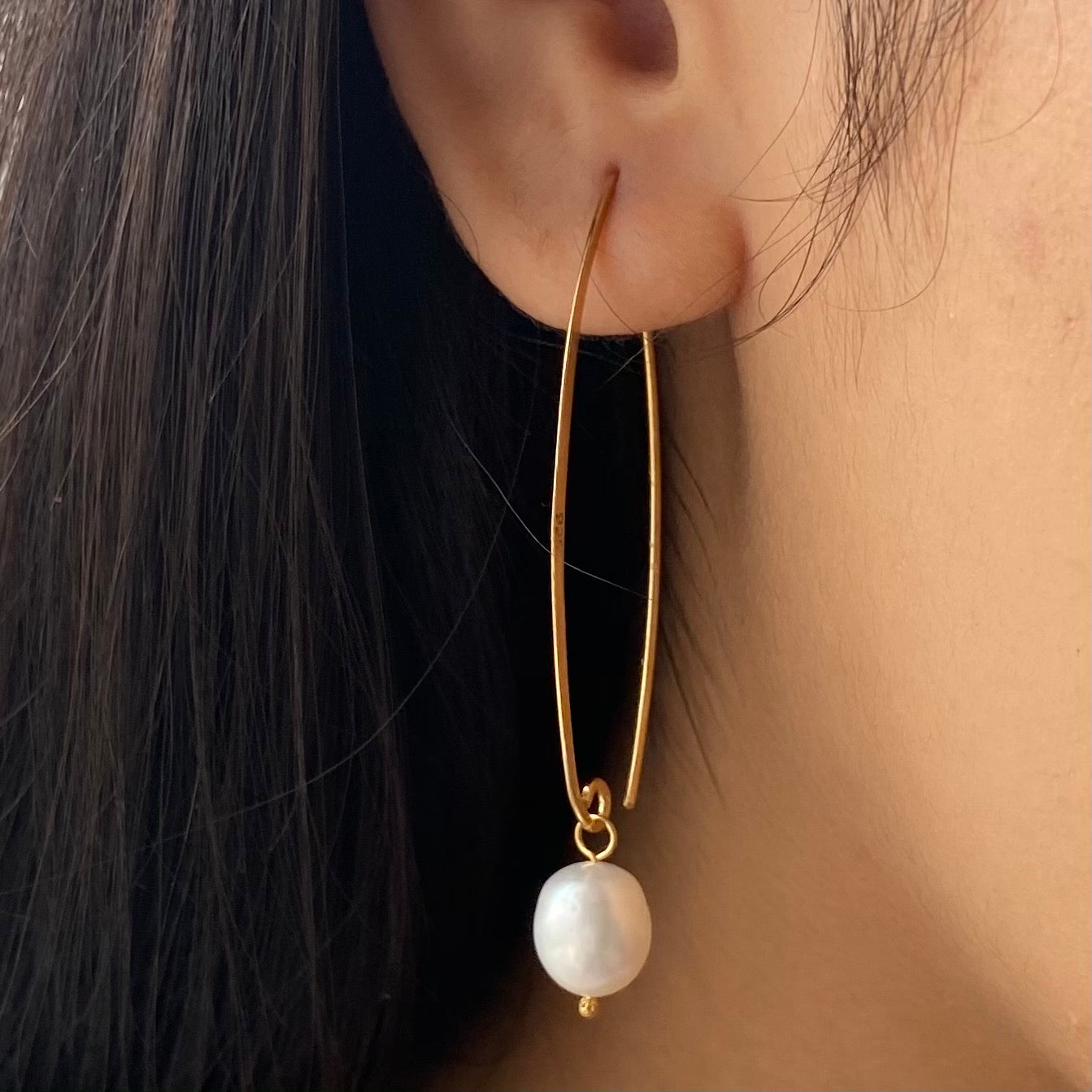 Gold Plated Long Silver Earrings with White Pearl Drop