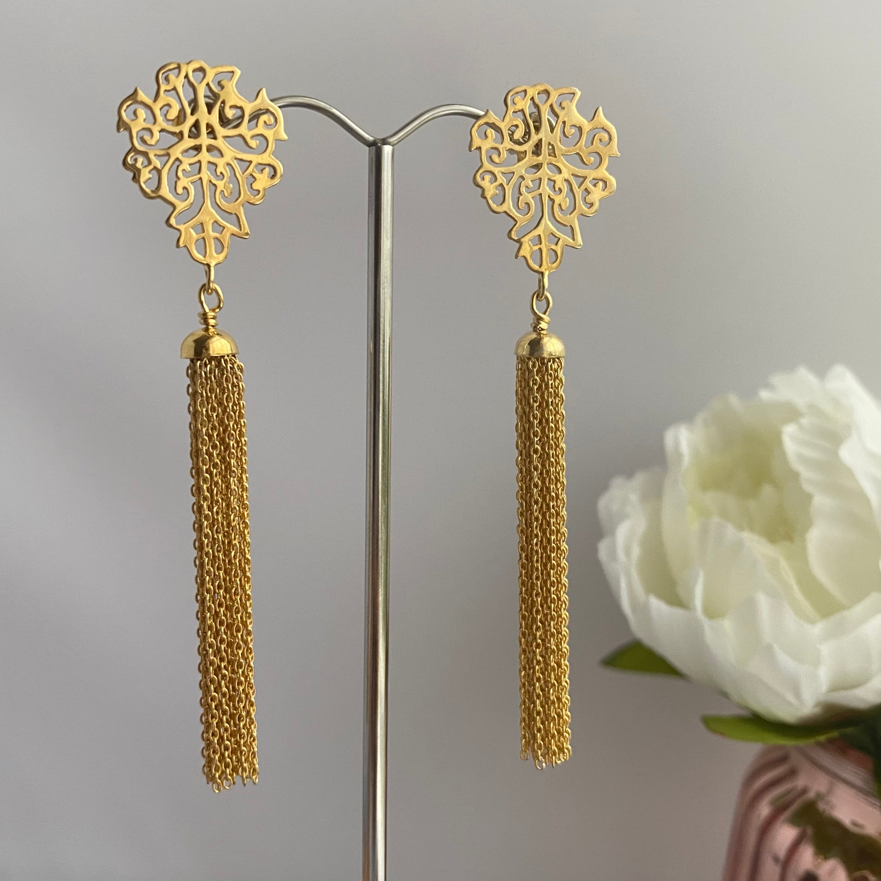 Gold Plated Sterling Silver Intricate Filigree Long Earrings with Tassels