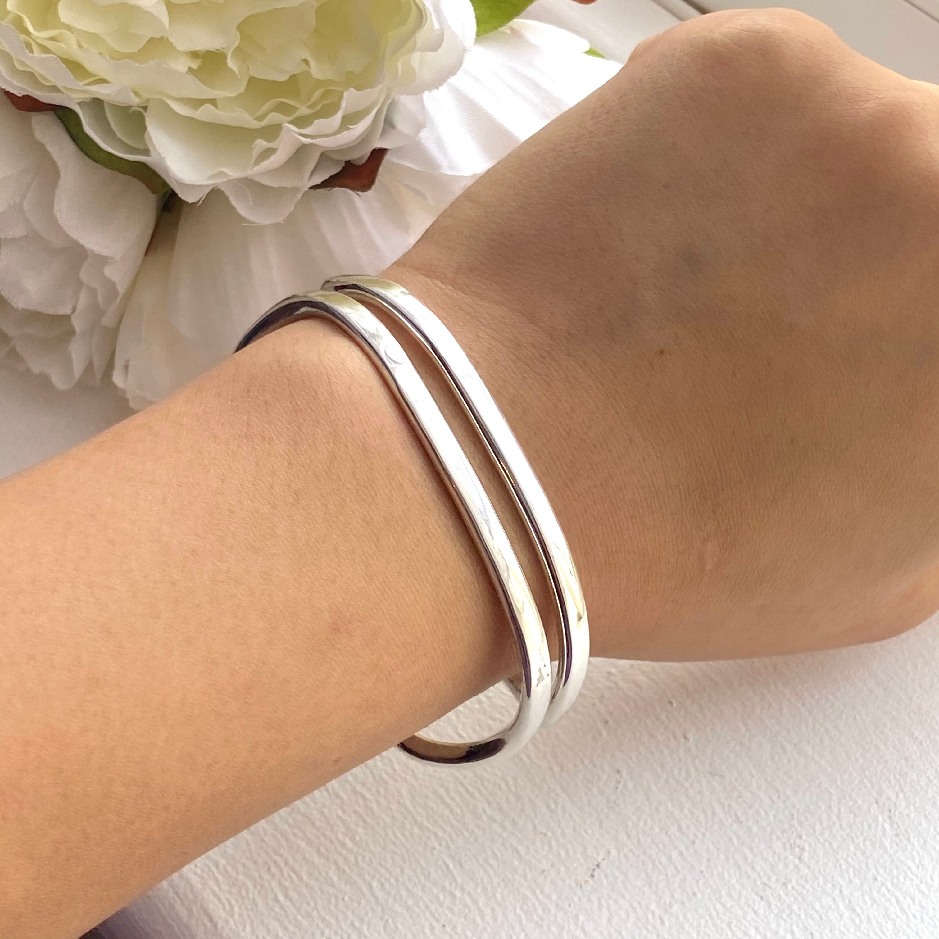 Sterling Silver Cuff with Two Flat Curving Silver Bands