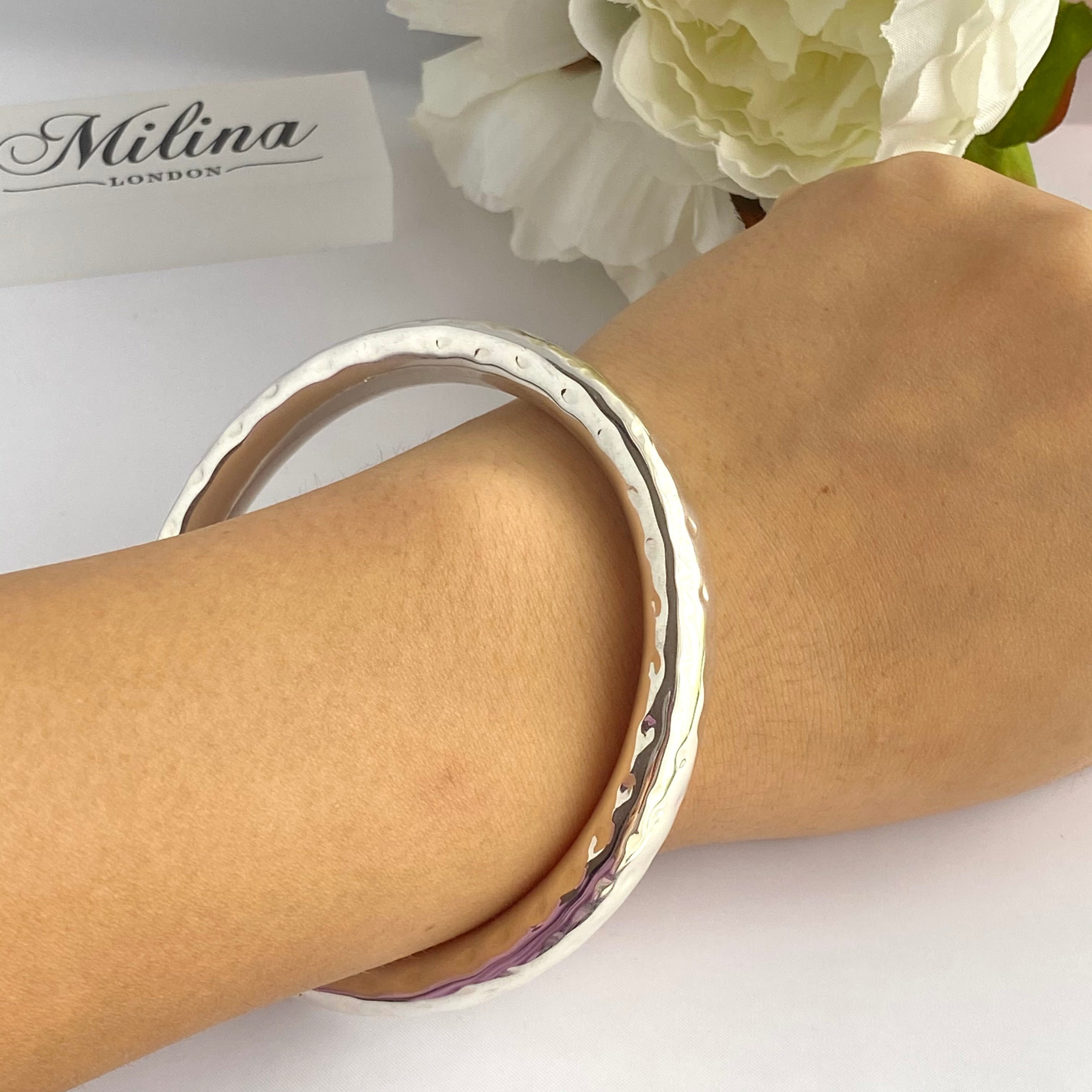 Sterling Silver Thick Hammered Bangle
