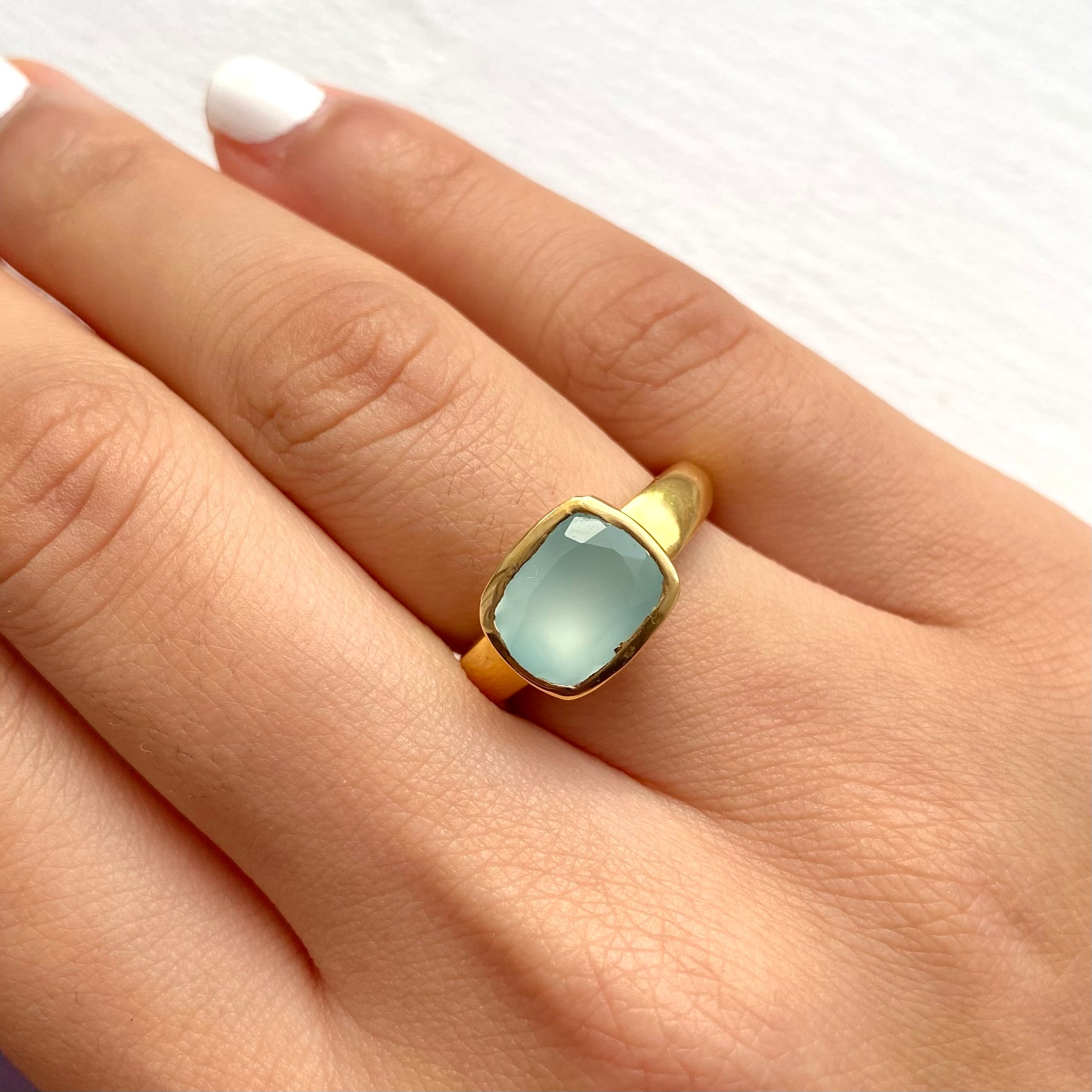 Faceted Rectangular Cut Natural Gemstone Gold Plated Sterling Silver Ring - Aqua Chalcedony