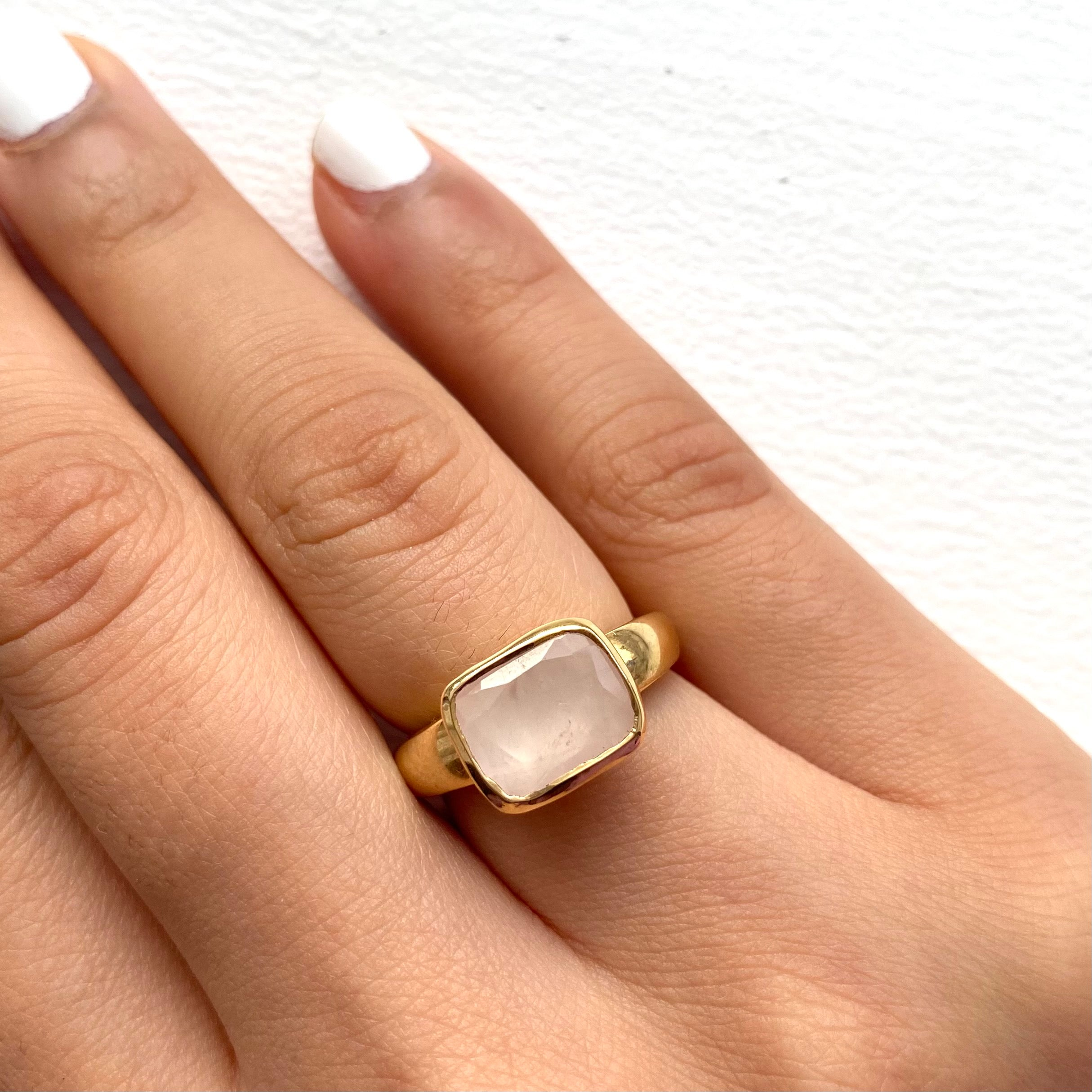 Faceted Rectangular Cut Natural Gemstone Gold Plated Sterling Silver Ring - Rose Quartz