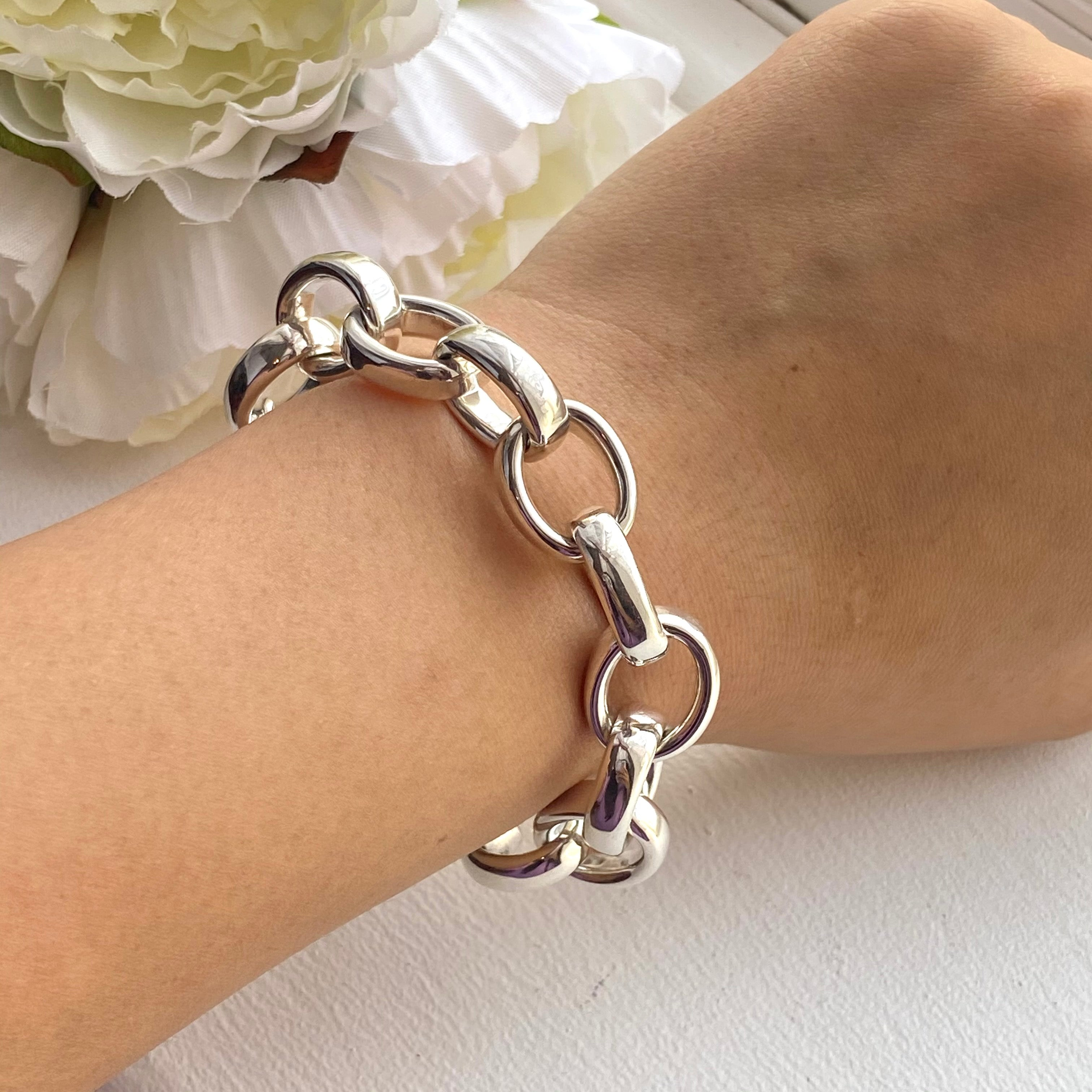 Sterling Silver Bracelet with Hollow Chunky Oval Links