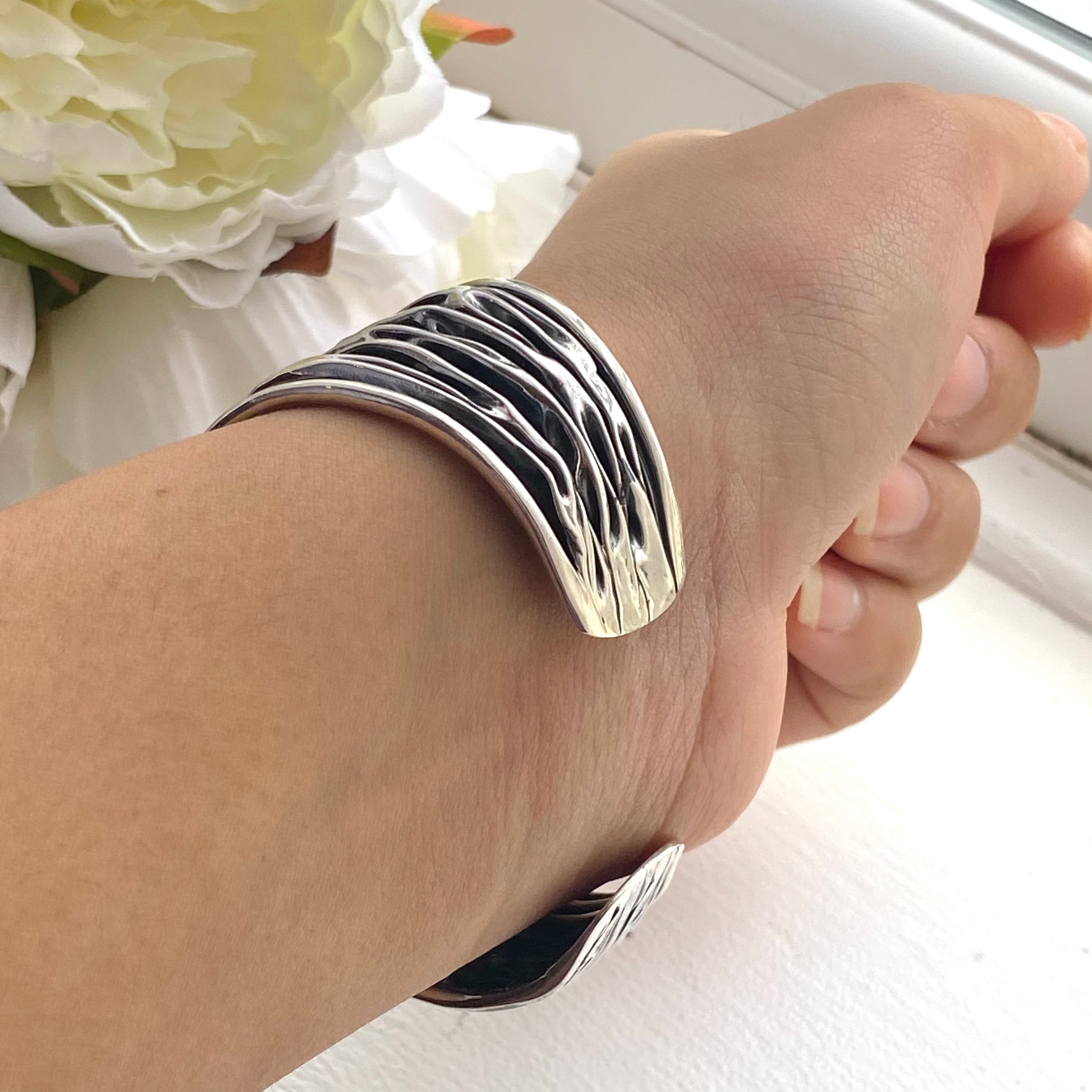 Wide Oxidised Sterling Silver Textured Patterned Cuff