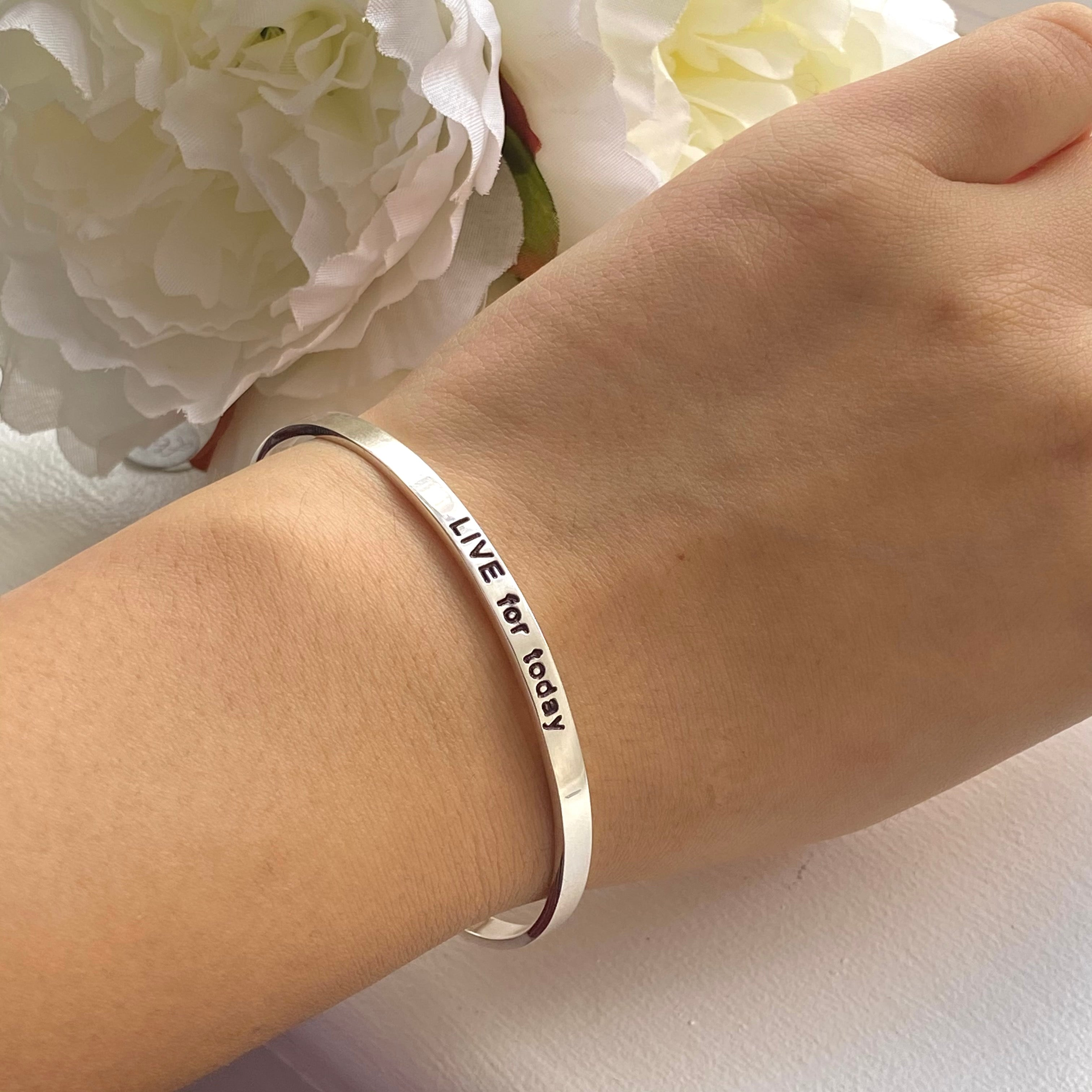 Sterling Silver Motivational Quote Bangle - Live For Today