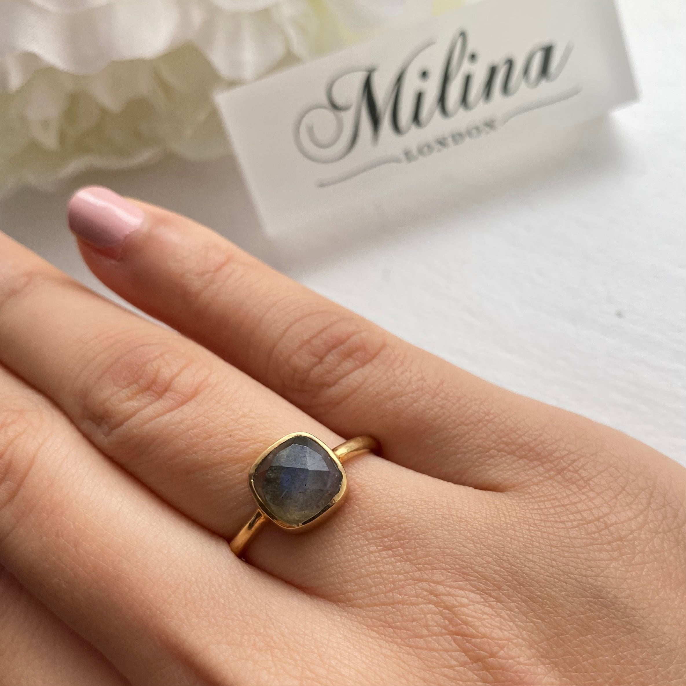 Faceted Square Cut Natural Gemstone Gold Plated Sterling Silver Solitaire Ring -Labradorite