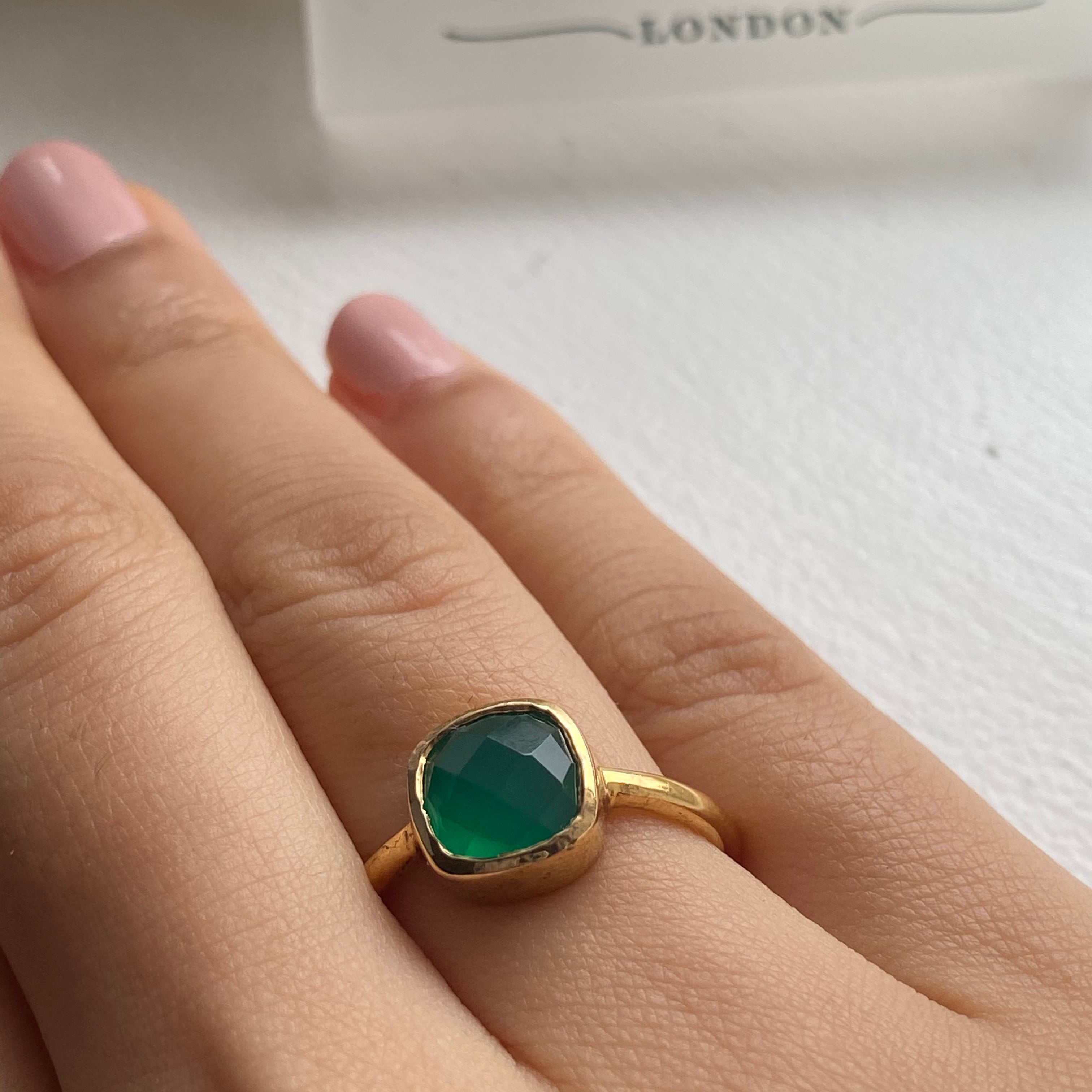 Faceted Square Cut Natural Gemstone Gold Plated Sterling Silver Solitaire Ring - Green Onyx