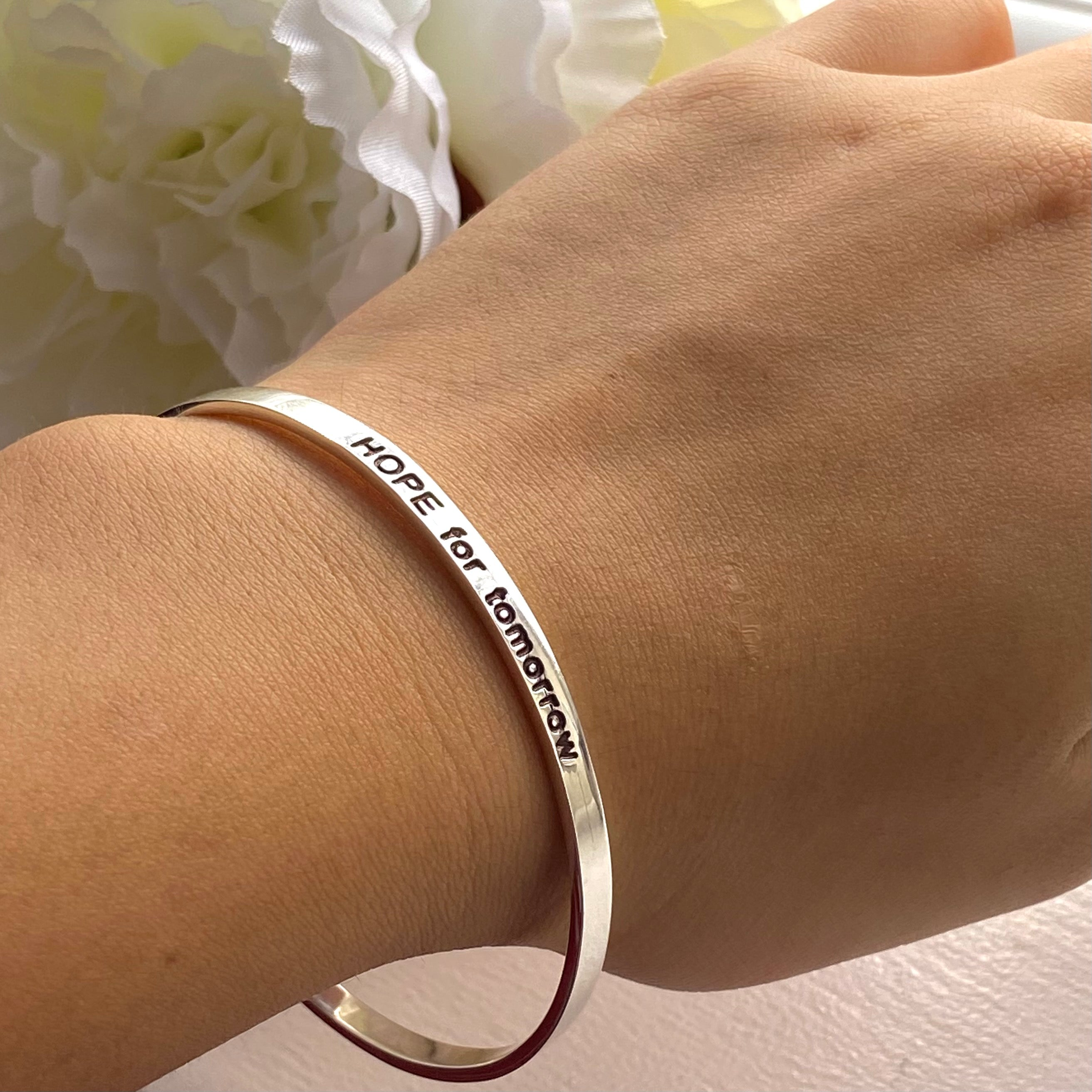 Sterling Silver Motivational Quote Bangle - Hope For Tomorrow