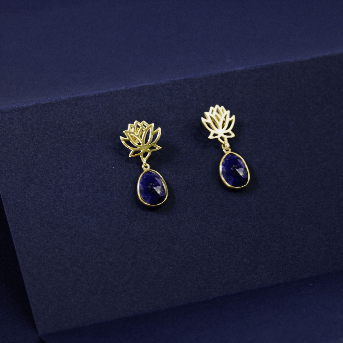 Lotus Earrings in Gold Plated Sterling Silver with a Lapis Lazuli Gemstone Drop