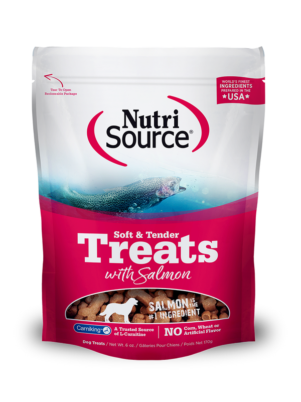 Soft & Tender Dog Treats with Salmon - 6 oz. bag front