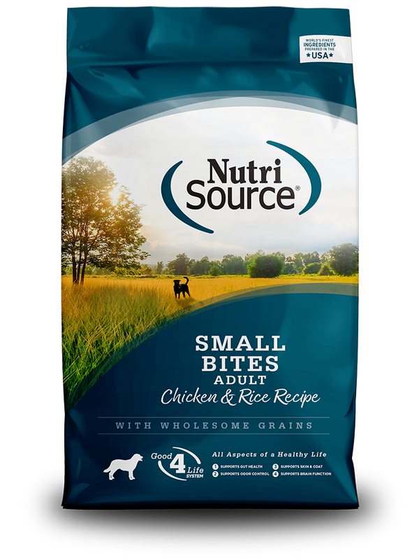 NutriSource Adult Chicken & Rice Recipe Small Bites - front of bag