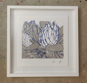SCREEN PRINT - King Protea Closed Study 02.     Edition of 6. Unframed.