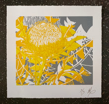 Load image into Gallery viewer, SCREEN PRINT - Banksia Baxteri Amy - Yellow & Grey. Edition of 3. Unframed.