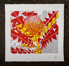 Load image into Gallery viewer, SCREEN PRINT - Banksia Baxteri Noelene - Red & Yellow. Edition of 1. Unframed.