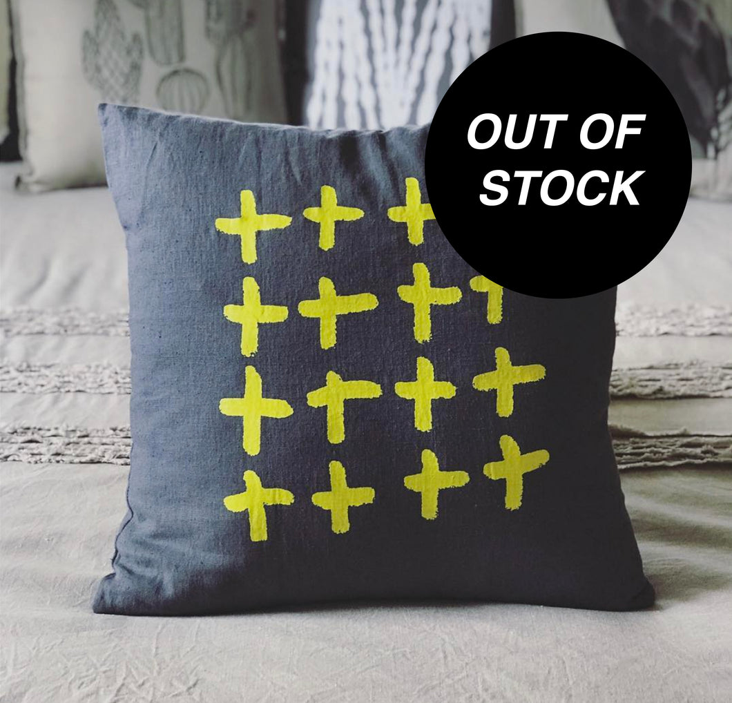 CUSHION - 48cm Linen Plus Plus Plus in Yellow.