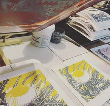 Load image into Gallery viewer, SCREEN PRINT - Banksia Formosa Study 02 - Yellow & Grey. Edition of 8. Unframed.