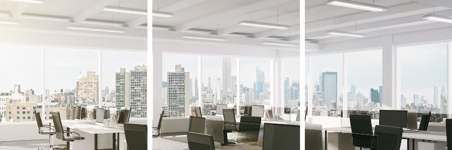 LED office lighting with view of city