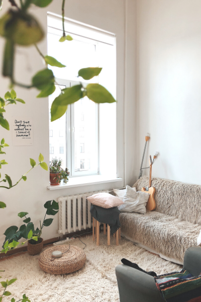 corner of a white room with couch near window and plants