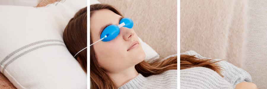 woman laying down with blue cooling eye mask
