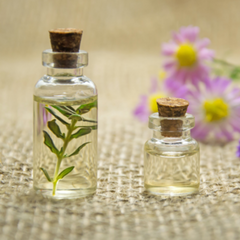essential oil with flowers