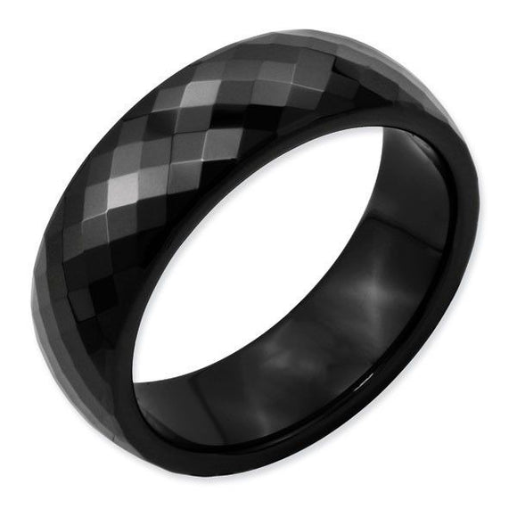 Ceramic Black Faceted Polished Band