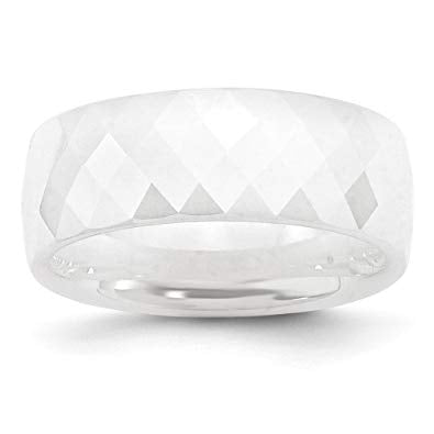 Ceramic White Faceted Polished Band