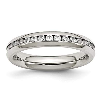 Stainless Steel Clear CZ Ring