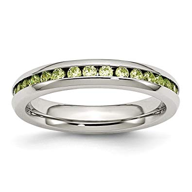 Stainless Steel Light Green CZ Ring