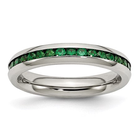 Stainless Steel Green CZ Ring