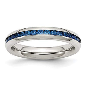 Stainless Steel Blue CZ Ring